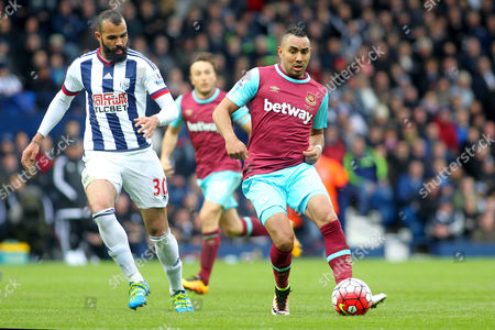 Stock Photo of Dimitri Payet of West Ham United and Georgios Samaras of West Bromwich Albion