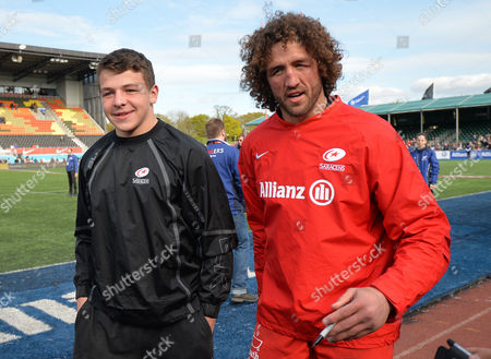 Actor Daniel Roche (BBC's Outnumbered) poses with Jacques Burger of Saracens during the Aviva Premiership Rugby match between Saracens and Newcastle Falcons played at Allianz Park, London on May 1st 2016