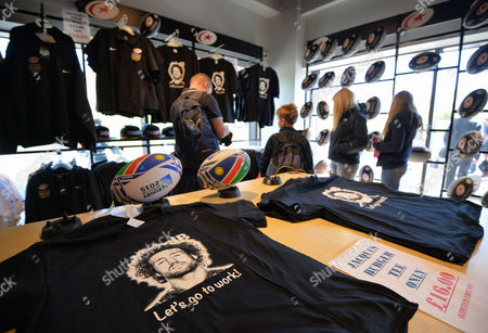 Shirts in the club shop paying tribute to Jacques Burger of Saracens who is retiring at the end of the season during the Aviva Premiership Rugby match between Saracens and Newcastle Falcons played at Allianz Park, London on May 1st 2016