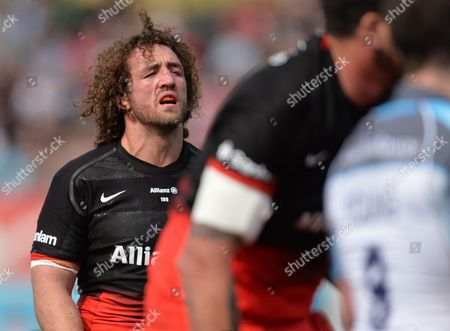 Jacques Burger of Saracens during the Aviva Premiership Rugby match between Saracens and Newcastle Falcons played at Allianz Park, London on May 1st 2016