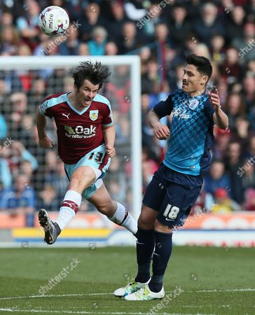 Joey Barton of Burnley and Alejandro Faurlin of Queens Park Rangers during the Sky Bet Championship match between Burnley and Queens Park Rangers played at Turf Moor, Burnley on May 2nd 2016