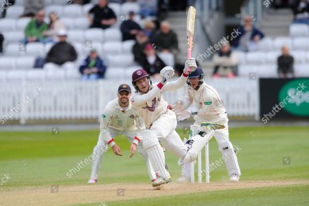 Wicket - Somerset's Ryan Davies swings wildly at a Lancashire's Simon Kerrigan delivery and is stumped by Lancashire's Alex Davies during the Specsavers County Champ Div 1 match between Somerset County Cricket Club and Lancashire County Cricket Club at the County Ground, Taunton