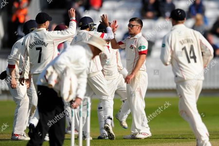 Lancashire's Simon Kerrigan celebrates taking the wicket of Somerset's Jack Leach during the Specsavers County Champ Div 1 match between Somerset County Cricket Club and Lancashire County Cricket Club at the County Ground, Taunton