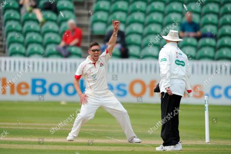 Lancashire's Simon Kerrigan appeals to the umpire for a \Somerset's Chris Rogers runout during the Specsavers County Champ Div 1 match between Somerset County Cricket Club and Lancashire County Cricket Club at the County Ground, Taunton