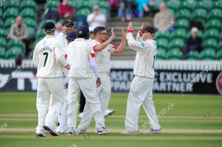 Lancashire's Simon Kerrigan celebrates the wicket of Somerset's Tom Abell during the Specsavers County Champ Div 1 match between Somerset County Cricket Club and Lancashire County Cricket Club at the County Ground, Taunton