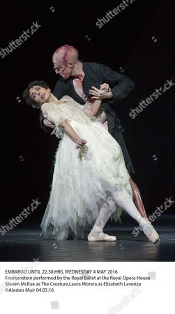 EMBARGO UNTIL 22.30 HRS, WEDNESDAY 4 MAY 2016 Frankenstein performed by the Royal Ballet at the Royal Opera House Steven McRae as The Creature,Laura Morera as Elizabeth Lavenza ©Alastair Muir 04.05.16