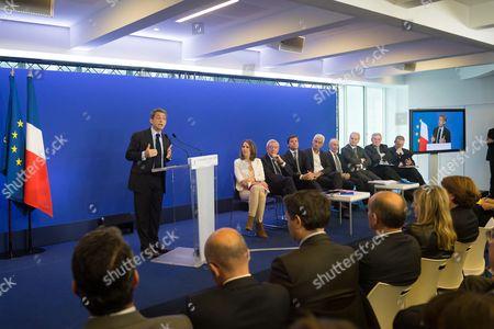 Stock Photo of Nicolas Sarkozy, Maud Fontenoy and guests