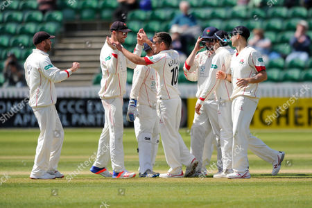 Lancashire's Simon Kerrigan celebrates taking the wicket of Somerset's Tom Abell during the Specsavers County Champ Div 1 match between Somerset County Cricket Club and Lancashire County Cricket Club at the County Ground, Taunton