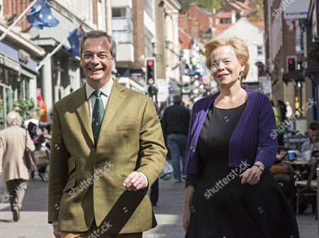 Stock Photo of Nigel Farage UKIP Leader and Victoria Ayling