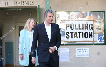Zac Goldsmith leaves the polling station with his wife Alice Rothschild having to cast their votes - Conservative Candidate for Mayor of London - Voting at Kitson Hall, Barnes, Richmond Park Constituency - London - 05/05/2016  Andrew Fosker/ Seconds Left Images