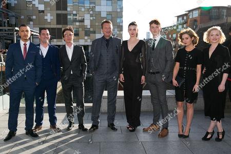 from left, Jordan Bolger, Pack Lee, Cillian Murphy, Steven Knight (writer/Creator), Gaite Jansen, Harry Kirton, (unknown), Kate Phillips.