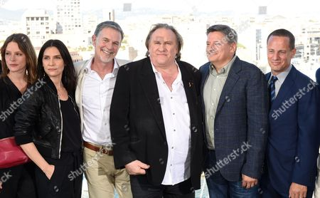 Stephane Caillard, Geraldine Pailhas, Reed Hastings, Gerard Depardieu, Ted Sarandos and Vice President of Netflix Eric Barmack