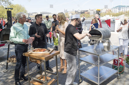 Stock Photo of Phillip Schofield, Steve Wilson, Holly Willoughby and Matt Reed (pizza chef)