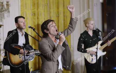 Former frontman of New York-based Indie Pop band Fun, Nate Ruess performs during an event to honor the 2016 National Teacher of the Year and finalists in the East Room of the White House in Washington D.C.