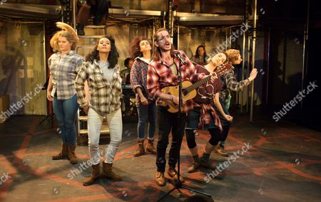 Stock Picture of Giovanna Ryan (Susan), Natasha Cottriall (Lucy Lockitt), Maimuna Memon (Jenny Diver), George Maguire (Macheath), Lauren Samuels (Polly Peachum) and John McCrea (Filtch)