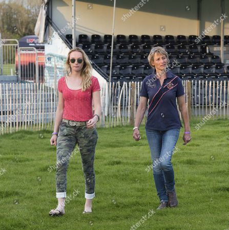 Emily King and Mary King walking the Cross Country course at Badminton