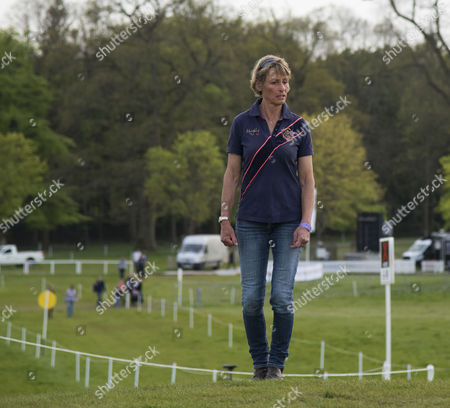 Mary King inspects the course at Badminton on the Eve of the Cross Country Test