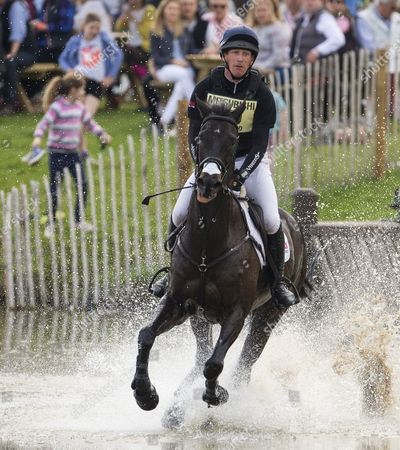 Stock Photo of Oliver Townsend on Black Tie in The Cross Country Test Badminton 2016 Mitsubishi Badminton Horse Trials Cross Country Test Badminton Gloucestershire Picture: Sandra Mailer 07/05/16