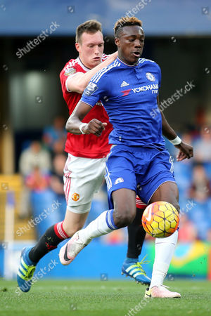 Chelsea's Tammy Abraham in possession under pressure from Phil Jones of Manchester United during Chelsea Under-21 vs Manchester United Under-21, Barclays U21 Premier League Football at Stamford Bridge on 6th May 2016