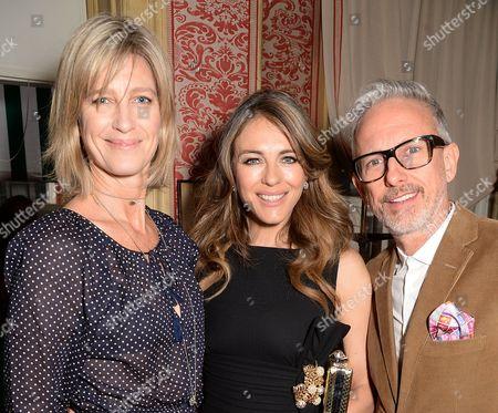 Nicola Formby, Elizabeth Hurley and Patrick Cox