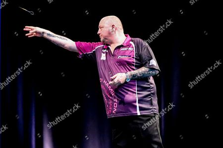 Andy Hamilton during the 2016 Gibraltar Darts Trophy at the Victoria Stadium