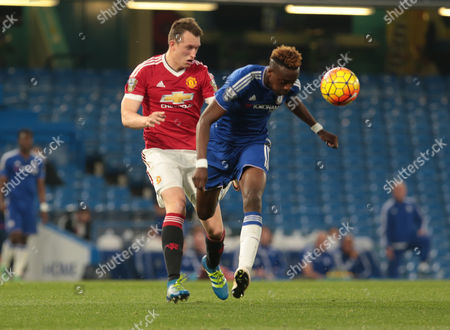 Manchester United's Under 21 Phil Jones,and Chelsea Under 21s Tammy Abraham during Barclays U21 PremieLeague Chelsea Under 21 v Manchester United Under 21 at Stamford Bridge London 06th May 2016
