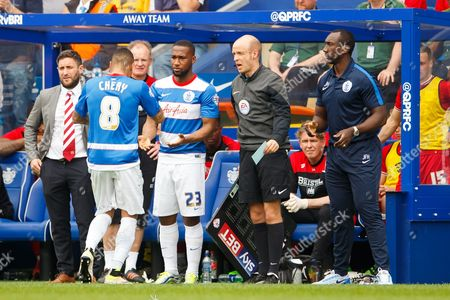 Tjarron Chery of QPR is substituted off and replaced by David Hoilett during the SkyBet Championship match between QPR and Birmingham City played at Loftus Road Stadium, London on May 7th 2016