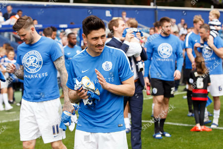 Stock Picture of Alejandro Faurlin of QPR applauds the fans after the SkyBet Championship match between QPR and Birmingham City played at Loftus Road Stadium, London on May 7th 2016