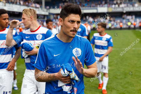 Stock Photo of Alejandro Faurlin of QPR applauds fans after the SkyBet Championship match between QPR and Birmingham City played at Loftus Road Stadium, London on May 7th 2016