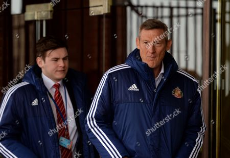 Sunderland owner Ellis Short (right) arrives at Stadium of Light  during the Barclays Premier League match between Sunderland and Chelsea played at Stadium of Light, Sunderland, on the 7th May  2016