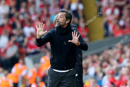 Watford Manager Quique Flores gestures as he stands in the technical area during the Barclays Premier League match between Liverpool and Watford, played at Anfield, Liverpool, on 08th May 2016