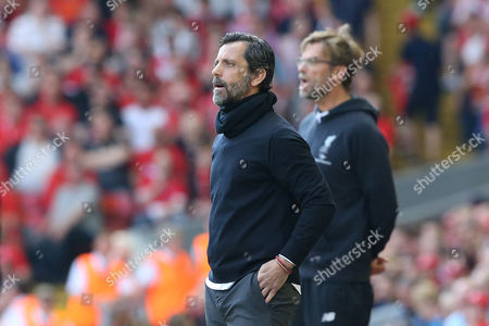 Watford Manager Quique Flores looks on during the Barclays Premier League match between Liverpool and Watford, played at Anfield, Liverpool, on 08th May 2016