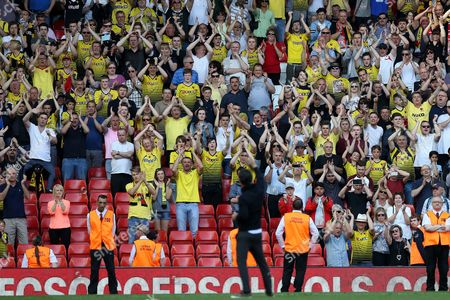 Watford fans applaud Watford Manager Quique Flores at the end of the Barclays Premier League match between Liverpool and Watford, played at Anfield, Liverpool, on 08th May 2016