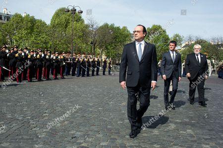 Francois Hollande, Manuel Valls and French Junior Minister for Veterans Jean-Marc Todeschini