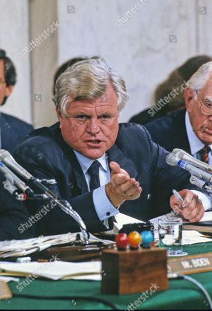 "Stock Picture of United States Senator Edward M. ""Ted"" Kennedy (Democrat of Massachusetts), makes his opening statement during the testimony of Professor Anita Hill during the US Senate Judiciary Committee hearings to confirm Judge Clarence Thomas as Associate Justice of the US Supreme Court in the US Senate Caucus Room in Washington, DC. Thomas was nominated for the position by US President George H.W. Bush on July 1, 1991 to replace retiring Justice Thurgood Marshall."