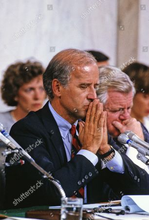 United States Senator Joe Biden (Democrat of Delaware), Chairman, US Senate Judiciary Committee, makes his opening statement prior to hearing the testimony of Professor Anita Hill during the hearings to confirm Judge Clarence Thomas as Associate Justice of the US Supreme Court in the US Senate Caucus Room Thomas was nominated for the position by US President George H.W. Bush on July 1, 1991 to replace retiring Justice Thurgood Marshall.