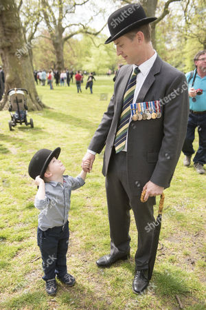 Stock Photo of 3 year old Charles Vines with his father Major Richard Vines of the Queens Royal Hussars