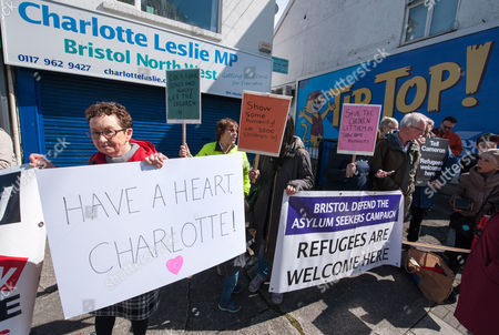 Stock Photo of  Protest by Bristol Defend the Asylum Seekers Campaign outside the constituency office of Charlotte Leslie MP for Bristol North West because of her vote in the House of Commons against the UK taking in 3000 unaccompanied child refugees from the current refugee crisis in the Middle East and the EU. There is another vote next week which the campaigners say gives Leslie a second chance to show some humanity.