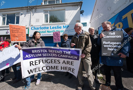 Protest by Bristol Defend the Asylum Seekers Campaign outside the constituency office of Charlotte Leslie MP for Bristol North West because of her vote in the House of Commons against the UK taking in 3000 unaccompanied child refugees from the current refugee crisis in the Middle East and the EU. There is another vote next week which the campaigners say gives Leslie a second chance to show some humanity.