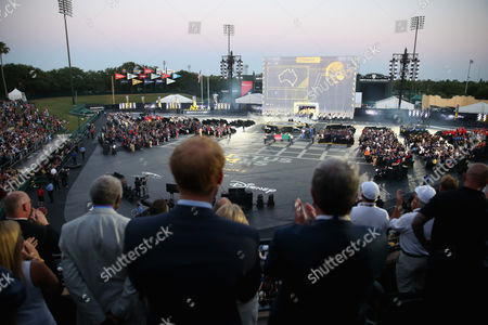 Prince Harry and Sir Keith Mills watch the Opening Ceremony of the Invictus Games Orlando 2016 at ESPN Wide World of Sports