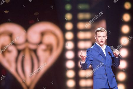 "Stock Image of Juri Pootsmann of Estonia performs his song ""Play"""