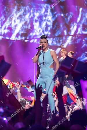 "Stock Image of Sandhja of Finland performs her song ""Sing It Away"" at the first semi-final show of the Eurovision Song Contest 2016"