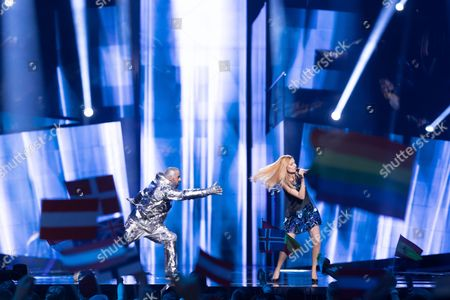 """Lidia Isac of Moldova performs her song """"Falling Stars"""" at the first semi-final show of the Eurovision Song Contest 2016"""
