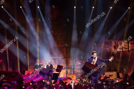 "Douwe Bob of Netherlands performs his song ""Slow Down"" at the first semi-final show of the Eurovision Song Contest 2016"