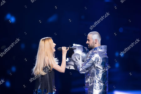 """Stock Picture of Lidia Isac of Moldova performs her song """"Falling Stars"""" at the first semi-final show of the Eurovision Song Contest 2016"""