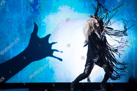 """Stock Photo of Greta Salome of Iceland performs her song """"Hear Them Calling"""""""