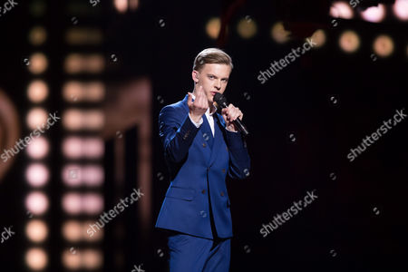 """Stock Picture of Juri Pootsmann of Estonia performs his song """"Play"""""""