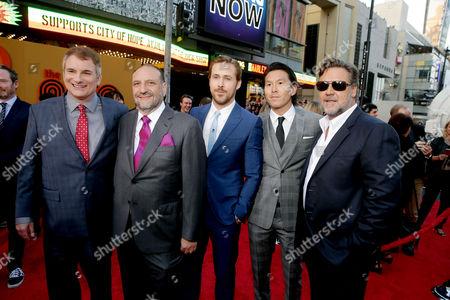 Shane Black, Joel Silver, Ryan Gosling, Ken Kao, Russell Crowe