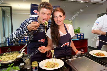 Thomas Muller and Lisa Trede promote Barilla Pasta