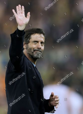 Manager of Watford, Quique Flores waves to the Watford fans - Norwich City v Watford, Barclays Premier League, Carrow Road, Norwich. 11 May 2016